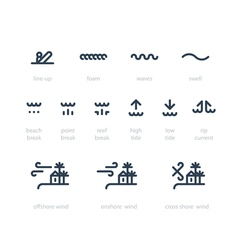 Surf school icon set low high tide rip current vector