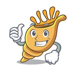 thumbs up exotic shell character cartoon vector image
