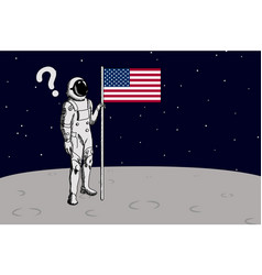 usa astronaut raise flag on moon vector image