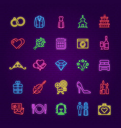 wedding neon sign party marriage glow symbols vector image