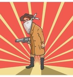 Wild west robber with gun hand drawn vector