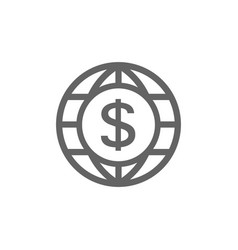 world and dollar icon combination vector image