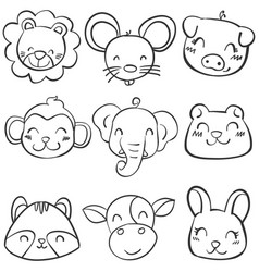 collection stock of animal head hand draw vector image vector image