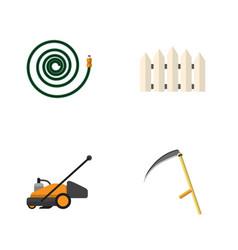Flat icon garden set of lawn mower cutter wooden vector
