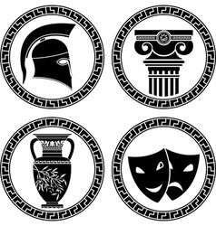 hellenic buttons stencil second variant vector image vector image