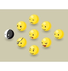Isometric happy face bubbles game elements vector image vector image