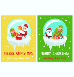 merry christmas set of posters vector image vector image