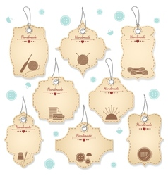 Nice Handmade Tag Designs for Needleowrks vector image vector image