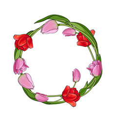 round frame of red and pink tulip flowers with vector image
