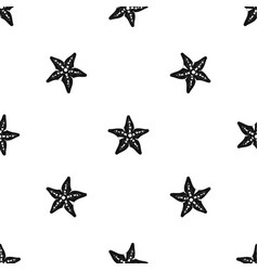 starfish pattern seamless black vector image vector image