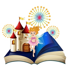 A storybook with a fairy a castle and fireworks vector image vector image