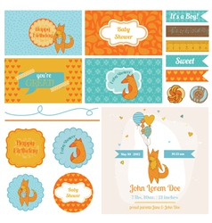 Baby Shower Cute Foxes Set - for Party Decoration vector image vector image