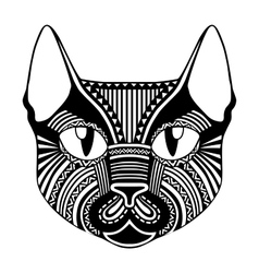 Ethnic patterned ornate decorative face cat vector