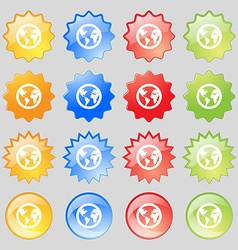 Globe icon sign Big set of 16 colorful modern vector image