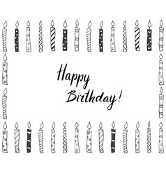 Hand drawn party background with candles hand vector image