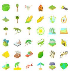 hiking nature icons set cartoon style vector image