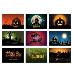 Nine creepy Halloween greeting card party vector image vector image