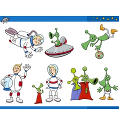 aliens and astronaut cartoon set vector image vector image