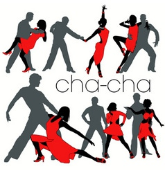 chacha dancers set vector image vector image