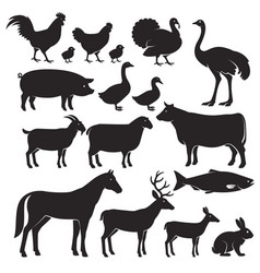 farm animals silhouette icons vector image