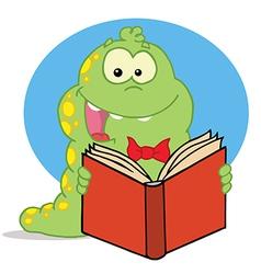 Green Caterpillar Reading An Entertaining Book vector image vector image