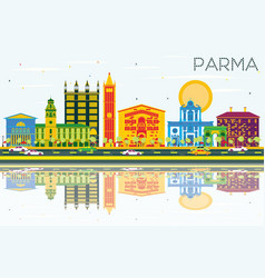 parma skyline with color buildings blue sky and vector image
