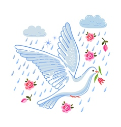 Soaring dove with flower in the clouds vector image vector image