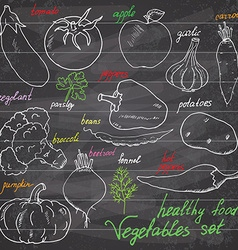 Vegetebles set Sketch with punpkin tomato eegplant vector image