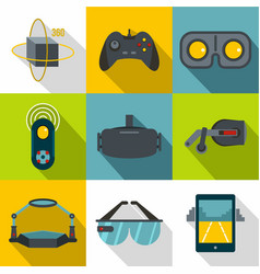 Vr game equipment icon set flat style vector