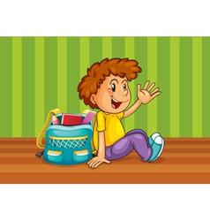 a boy with school bag vector image