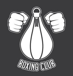 Boxing club emblem - fists and punching bag vector image vector image