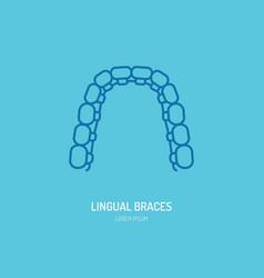 dentist orthodontics line icon of lingual braces vector image vector image