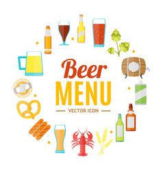 drinking beer round design template banner card vector image vector image