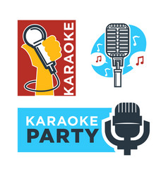 Karaoke club and bar labels or logotype vector