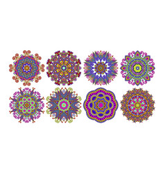 set of decorative circle patterns ethnic flower vector image