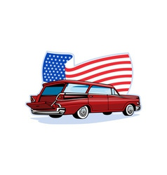 1950s styled station wagon with american flag vector image