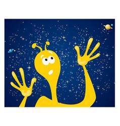 Alien against starry sky vector