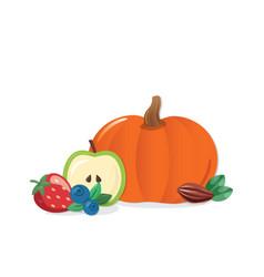 Autumn harvest cartoon icon pumpkin fruits vector