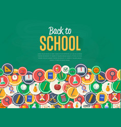 Back to school banner with flat icons vector
