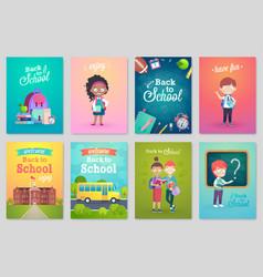 back to school card set school kids chalkboards vector image