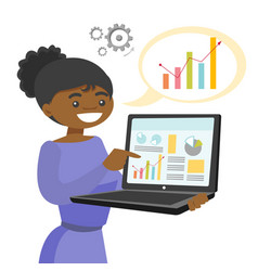 black woman showing report on the laptop vector image