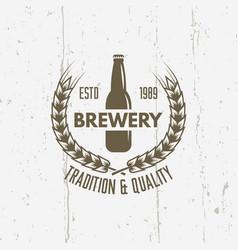 bottle beer branch wheat vintage label vector image