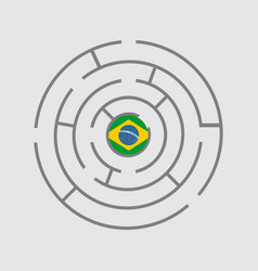 brazil flag in the maze of politic problems vector image