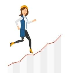 Business woman walking upstairs vector image