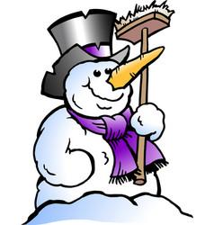 cartoon of a happy snowman vector image