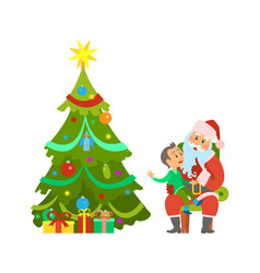 christmas holiday decorated tree and santa claus vector image