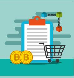 clipboard shopping cart and bitcoin blockchain vector image