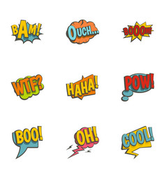clouds with comic speech bubbles icons set vector image