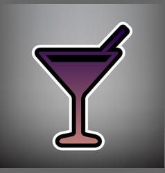 cocktail sign violet vector image