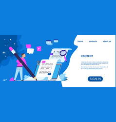 Content writer landing page blog articles vector